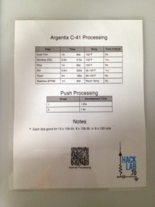 Darkroom Instruction Sheet