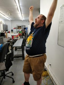 A Hacklab member excited for our new space!